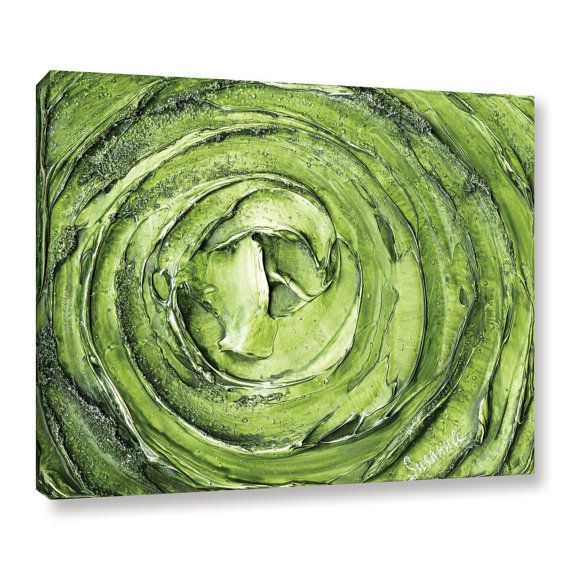 Green Abstract Swirl Fine Art Giclee PRINT on Canvas- Large gestural Modern Art by Susanna Shap. Please note this is a PRINT, not an original painting so there is no texture. Small ro XL sizes available. For original paintings, please check my shop. ***Please read shipping info below if you are outside the US.  -This print is available in several sizes, please see drop down next to add to cart button -Printed with Archival Giclee Inks, image mirror wrapped around sides of canvas -Surface…