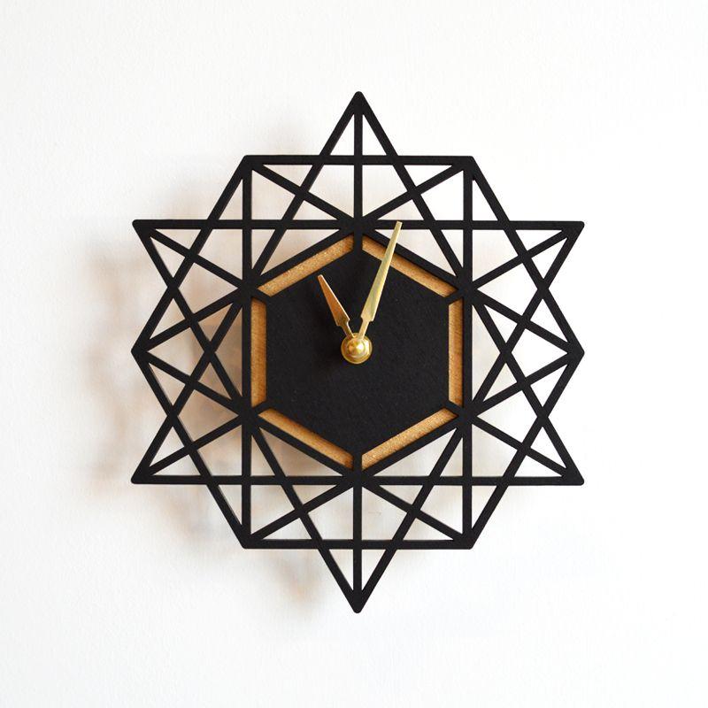 Geometric clock more colors black aqua horloge laser et d co de maison for Deco laser maison