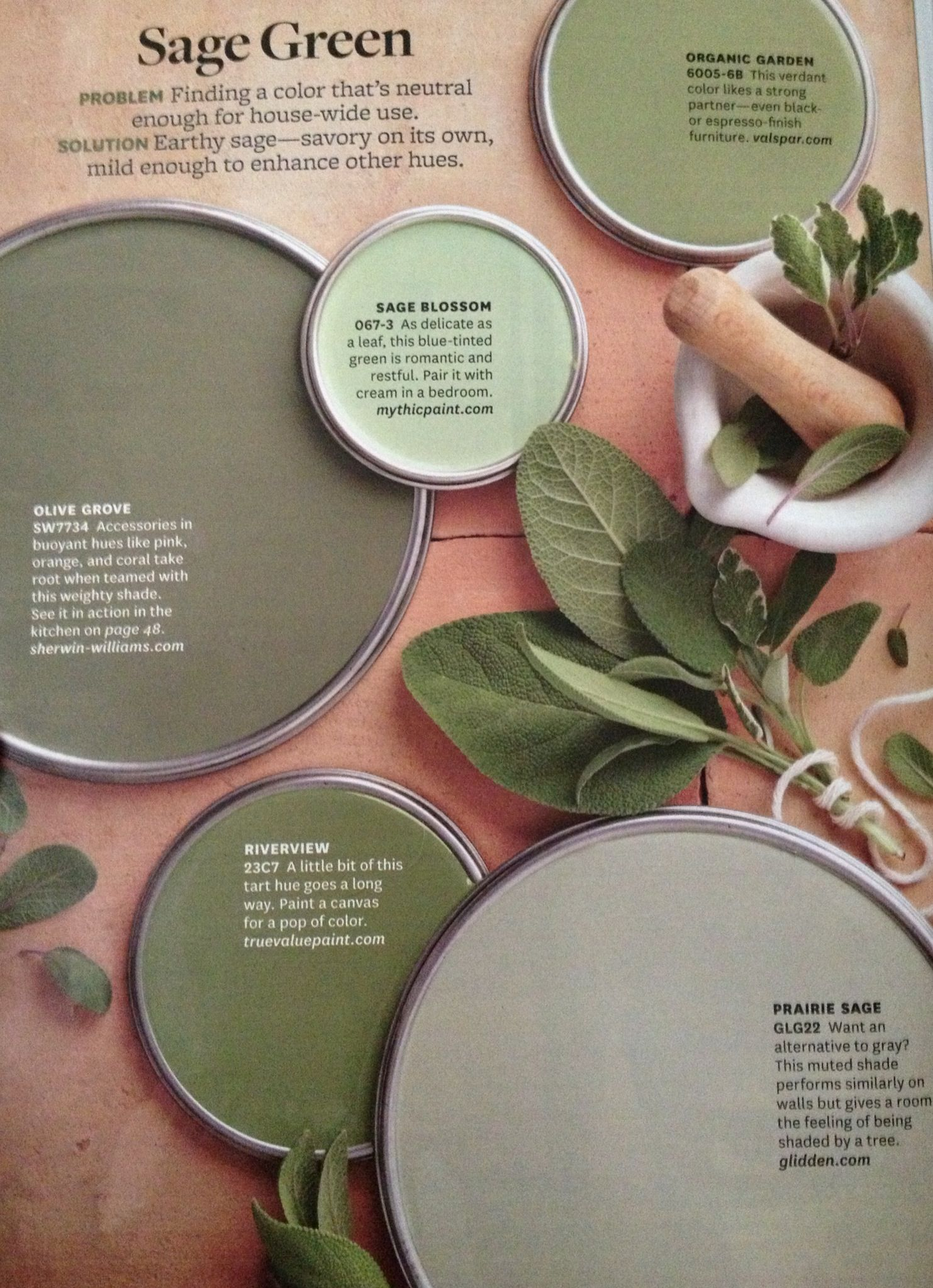 better homes and garden - sage green paint colors- i like sage