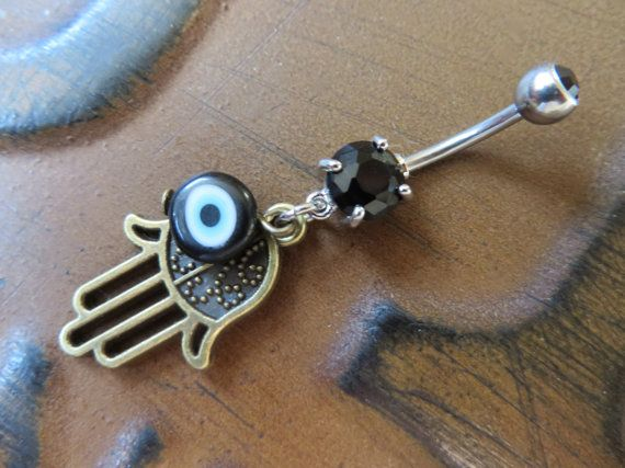 Belly Button Jewelry Ring Hamsa Black Blue Turkish Evil Eye Hand Of