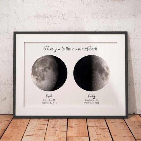 Good Last Minute Wedding Gifts: Custom 2 Moon, I Love You, Custom Moon Phase, First