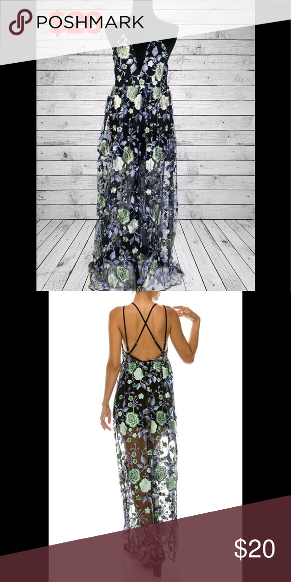 fbc95c387d26 ️Floral Embroidered Maxi Dress 👗 Details: 100% POLYESTER IMPORTED FLORAL  PATTERN MAXI LENGTH OVERLAY EMBROIDERED MESH V-NECK CRISS CROSS BACK  Dresses Maxi