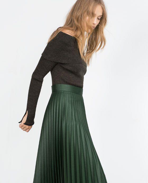 0ca3396896f80 ZARA - ÚLTIMA SEMANA - FALDA PLISADA Midi Skirt Outfit