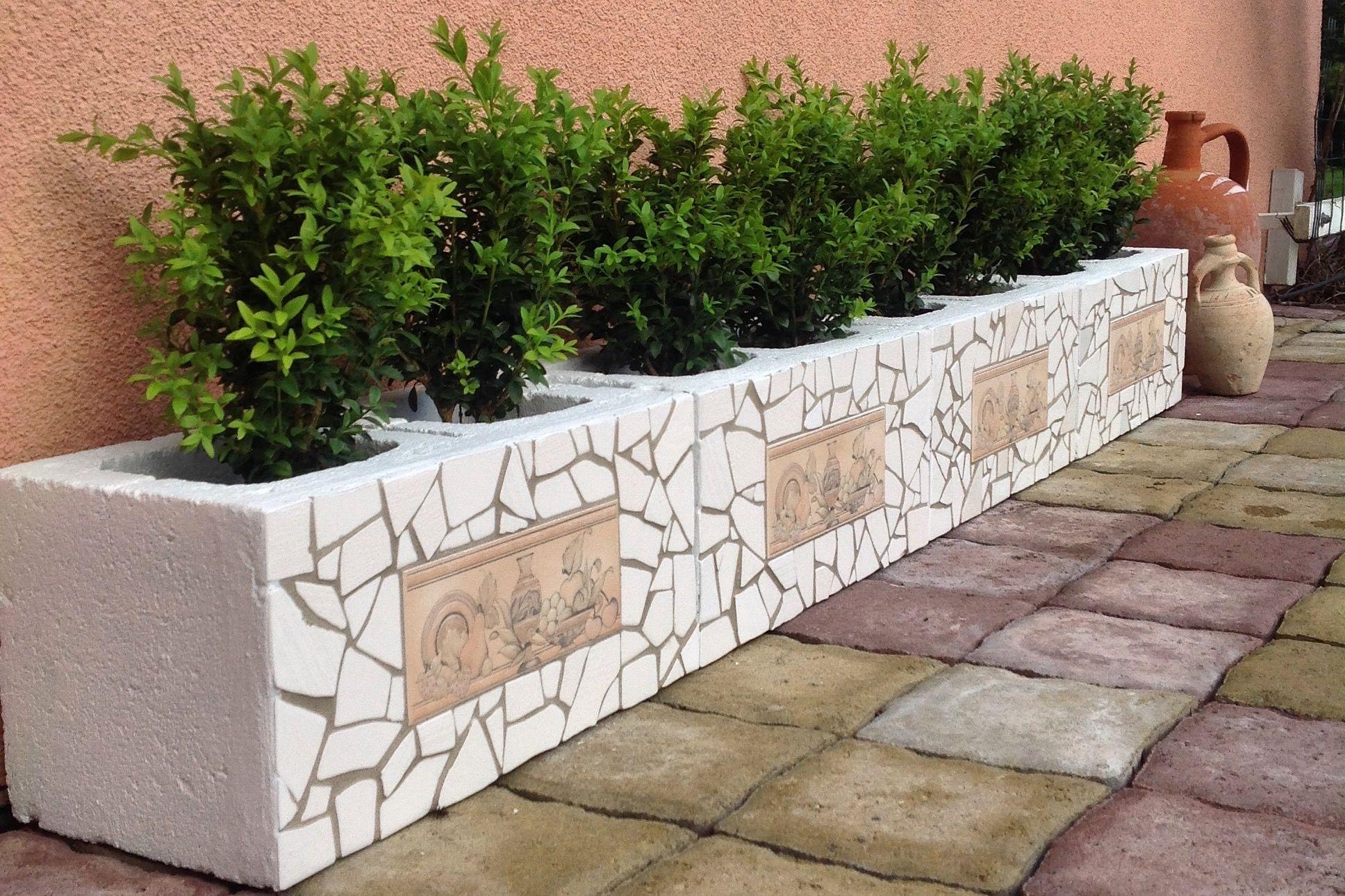 Cinder Block Planter Mosaic Cinder Block Garden Garden Design Home Garden Design