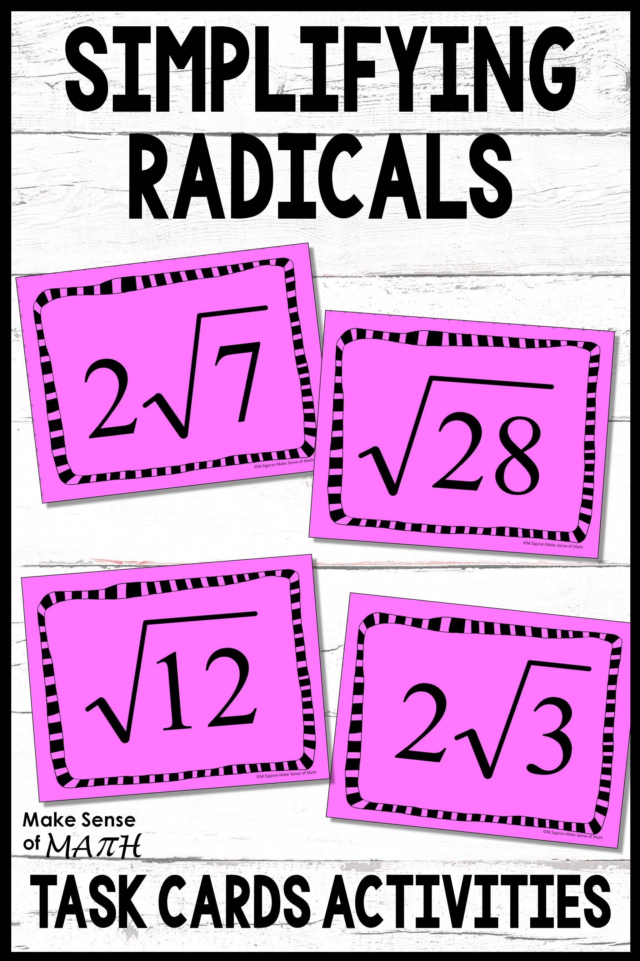 Check Out These Fun And Engaging Simplifying Radicals
