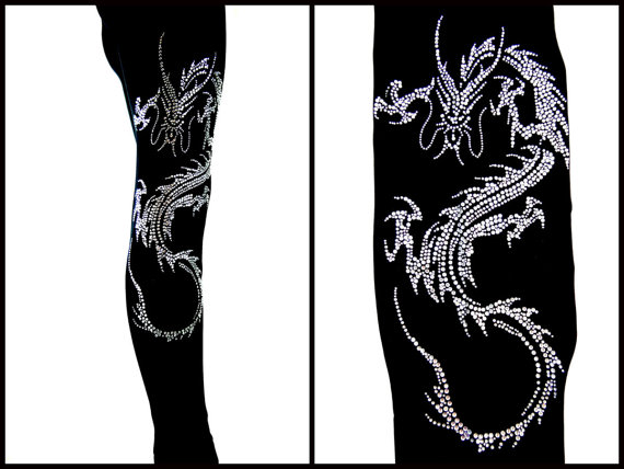 PLUS Full-Length Leggings Embellished Crystal Rhinestone Chinese Oriental Dragon