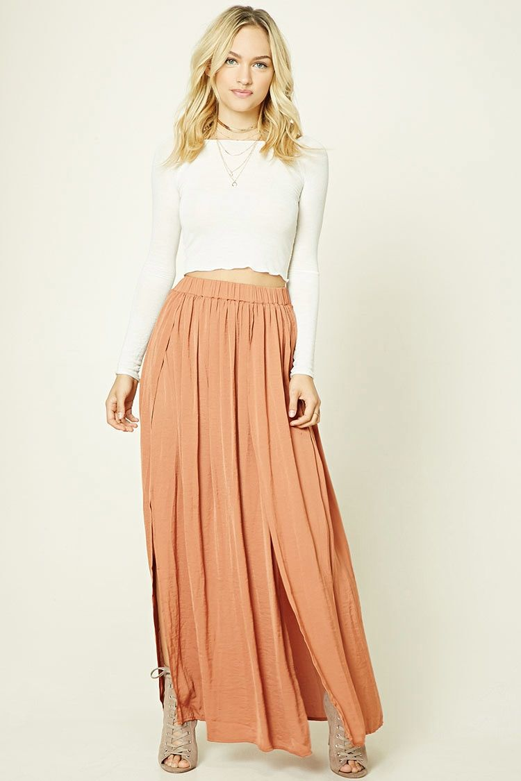 9a74a740b3 Forever 21 Contemporary - A satin maxi skirt featuring an M-slit, pleated  front, and an elasticized waist.
