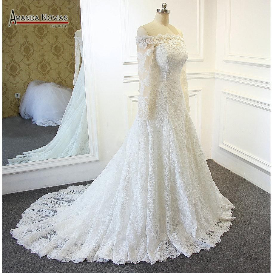 Wedding dresses with lace sleeves off the shoulder  Beautiful New Model Off Shoulder Style Long Sleeve Lace Wedding