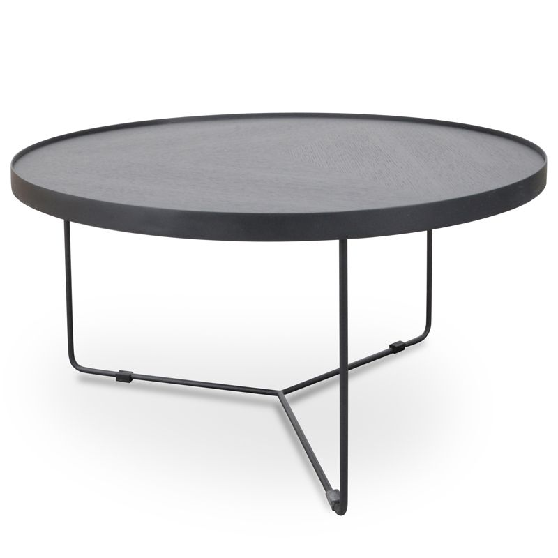 Luna 90cm Round Coffee Table Black Oak Top Black Frame Extra
