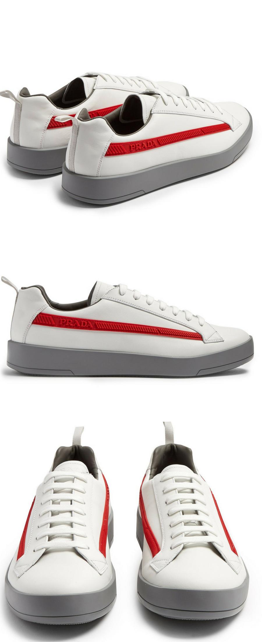 white leather Prada trainers