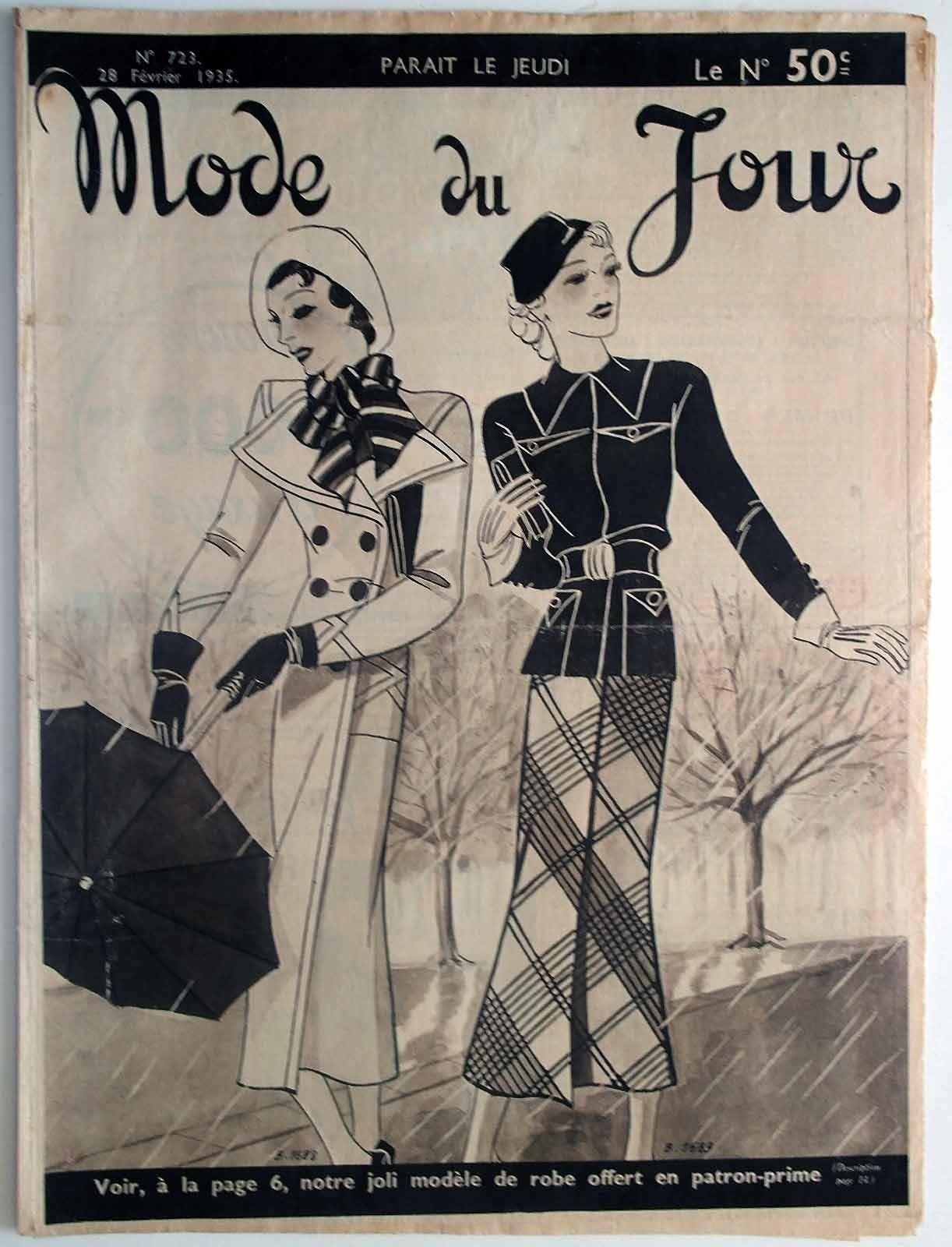 Mode DU Jour N°723 1935 Chronique DE LA Mode Broderie Dentelle Lecture | eBay