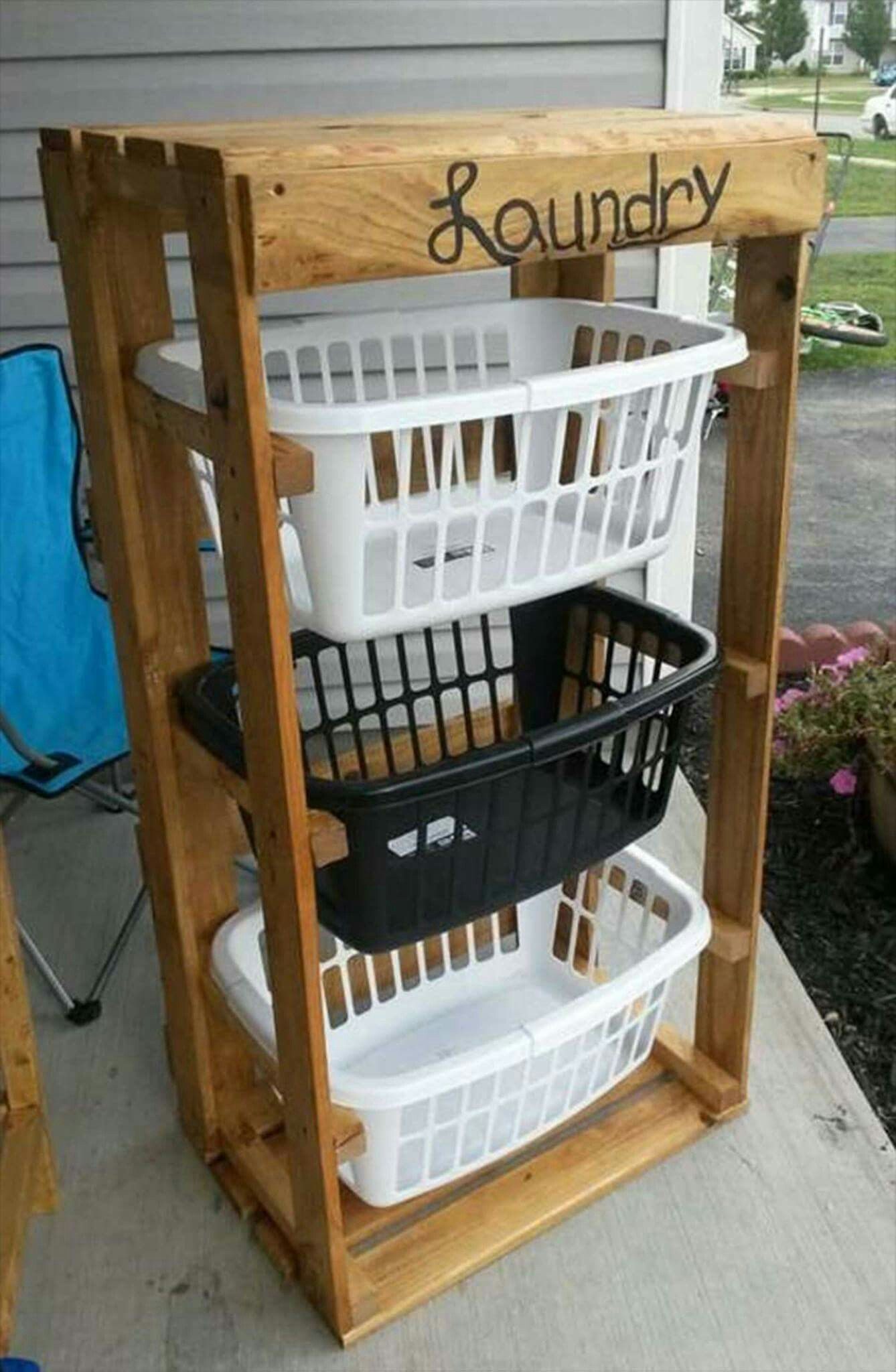 Laundry Center Made From Pallets Diy Home Decor Pinterest  # Muebles Faciles De Hacer En Madera