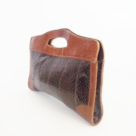 Vintage 70s brown Boho snake skin large clutch by VintageArmCandy