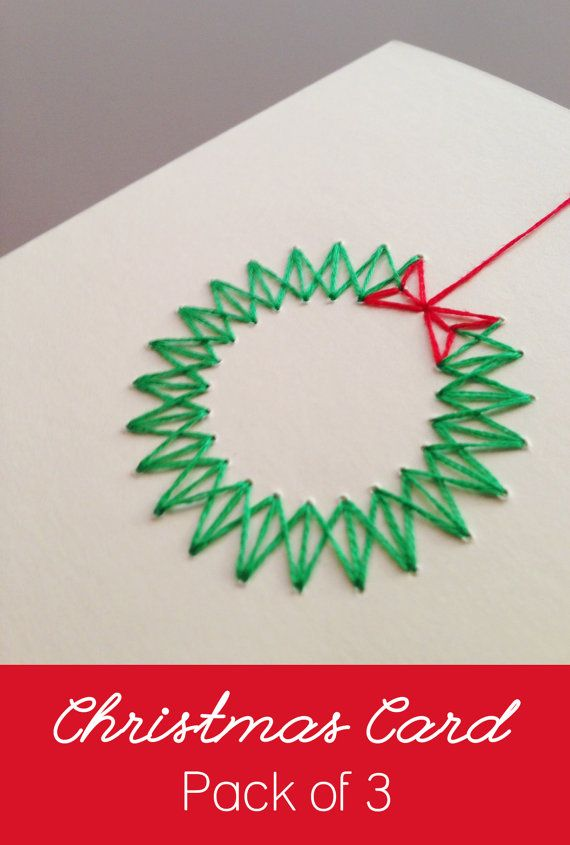 Photo of Pack of 3 – Handmade Modern Stitched Christmas Wreath Cards