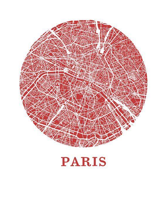Paris Map Print City Poster Par Omaps Sur Etsy Cartes Et: Paris City Map Poster At Infoasik.co