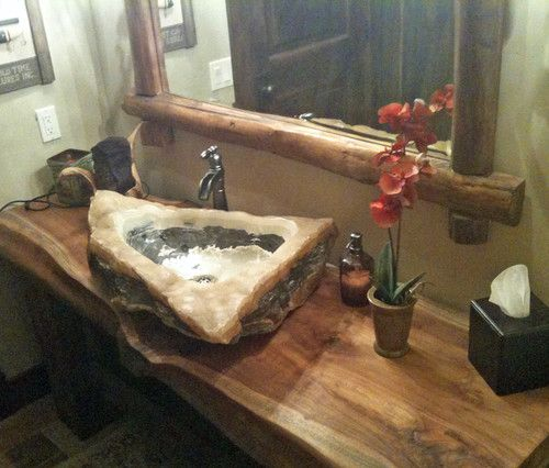 Quartz  Marble Vessel Sink On Reclaimed Monkeypod Wood Vanity