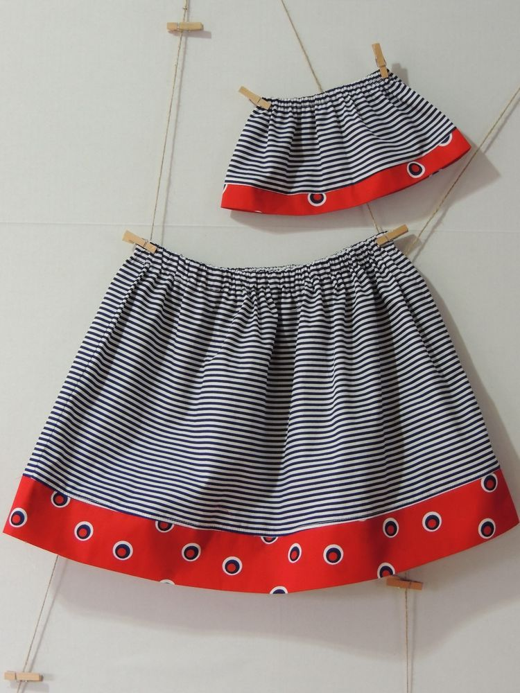 "MATCHING GIRL AND DOLL CLOTHES: SKIRT FOR GIRL AND 18"" DOLLS/ AMERICAN GIRL DOLL"