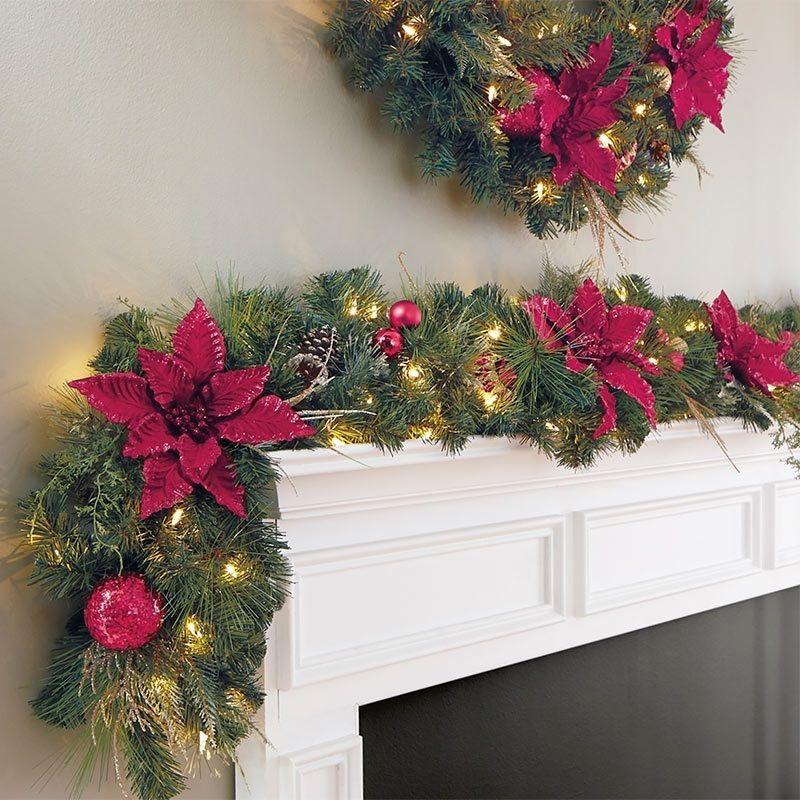Artificial Christmas Garland Decoration Pre-Lit Indoor Xmas Decor