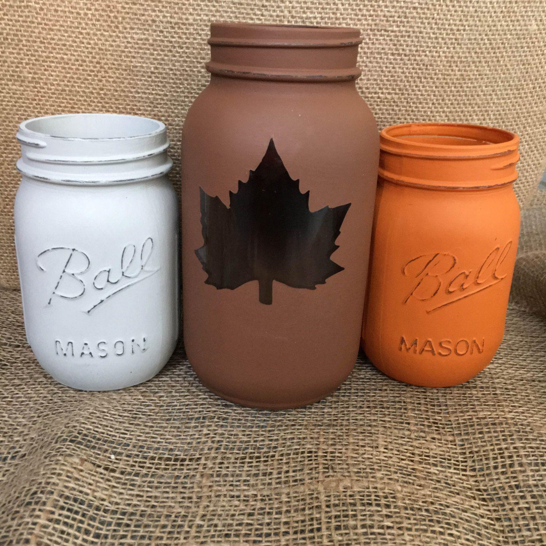 Fall home decor thanksgiving centerpiece distressed mason jars