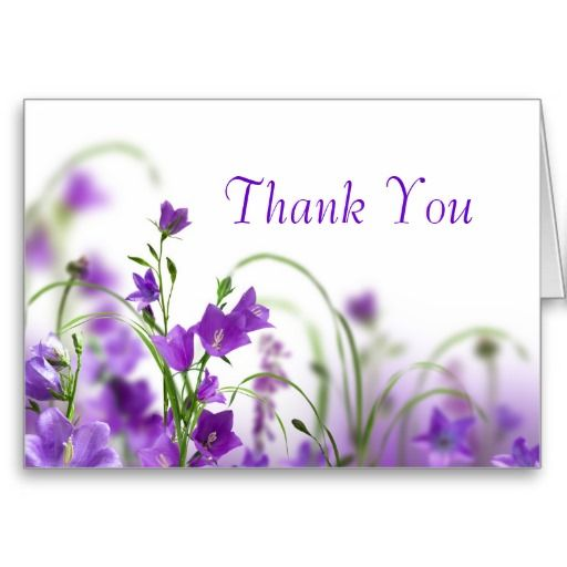 Purple Thank You Thank You Card Purple Flowers Horizontal Thank