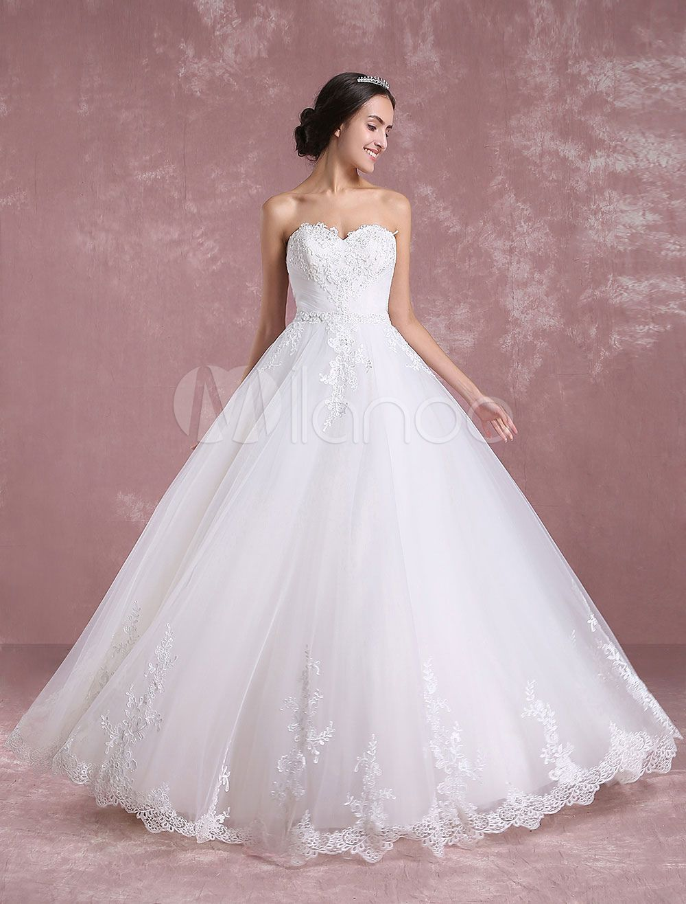 Ivory wedding dresses with sleeves  Ivory Wedding Dress Sweetheart Backless Tulle Bridal Dress Strapless