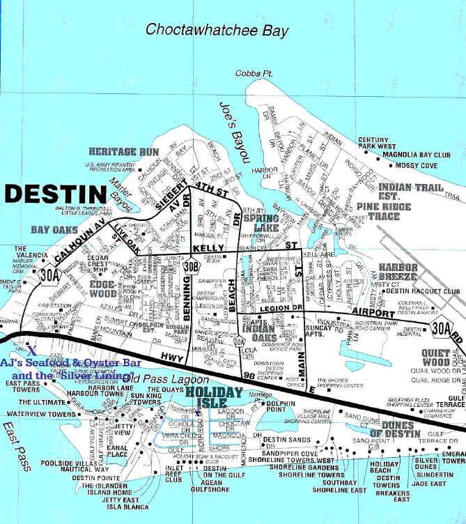 Destin, Florida Map. Thank goodness for this when house/condo