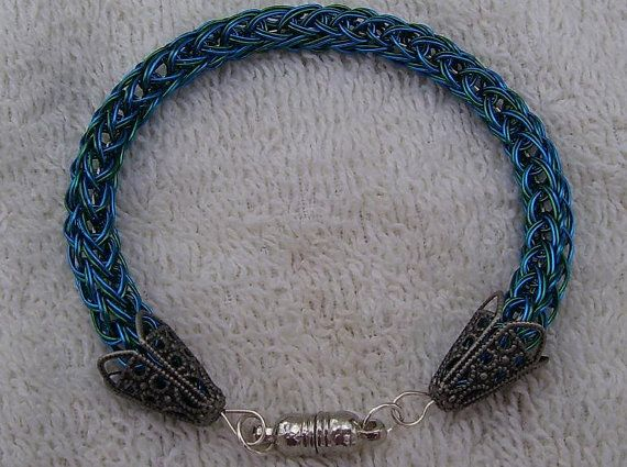 Viking Knit Bangle Green and Blue Duet Magnetic by BraceletsByJoy, $16.00
