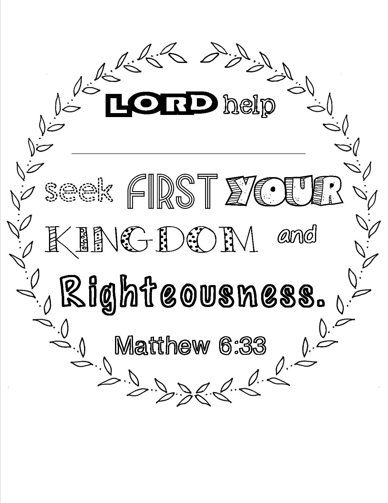 scripture coloring page matthew 633 that can be personalized used at bible study
