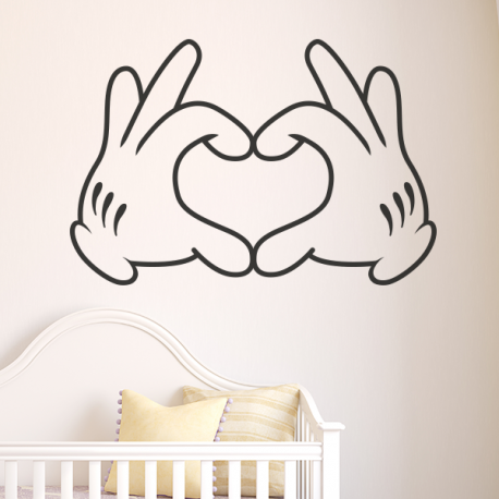 Sticker mural mains mickey forme un coeur mickey for Stickers disney chambre bebe