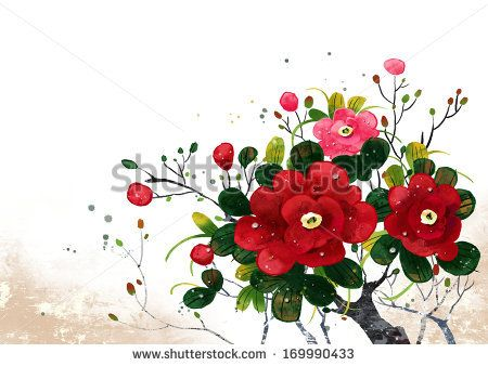 A tree branch filled with red roses. - stock photo