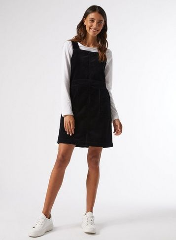 Midnight Cord Pinafore Dress With Patch Pockets. 100% Cotton. Machine Washable.