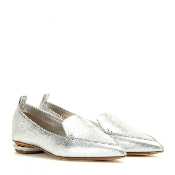 Nicholas Kirkwood Botalatto Metallic Leather Loafers ($375) ❤ liked on  Polyvore featuring shoes,