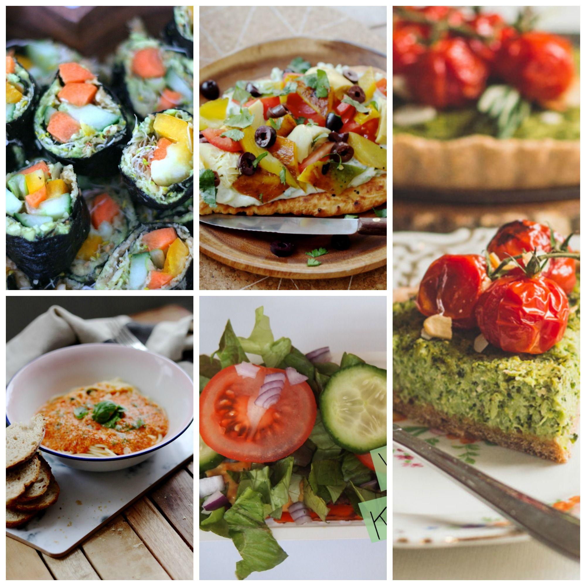 Heerlijk end of summer weekmenu met: Naan pizza met tzatziki, raw vegan sushi, hartige broccolitaart, pasta met gerookte paprika, vegan kapsalon. Een hele week smullen. Ga snel naar de blog voor de recepten.