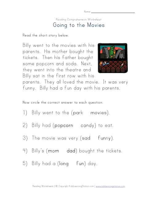 Reading Comprehension Going To The Movies Reading Comprehension Worksheets Comprehension Worksheets Reading Comprehension