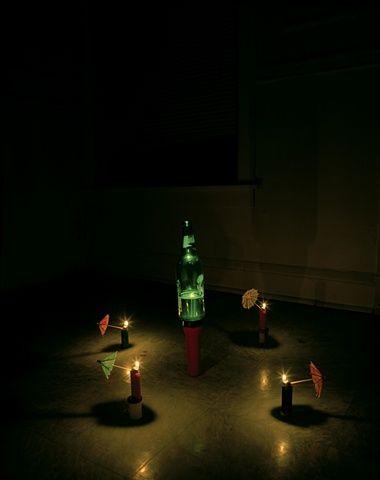 Bic lighters, beer bottle, flashlight and cocktail umbrellas | Adam Ekberg