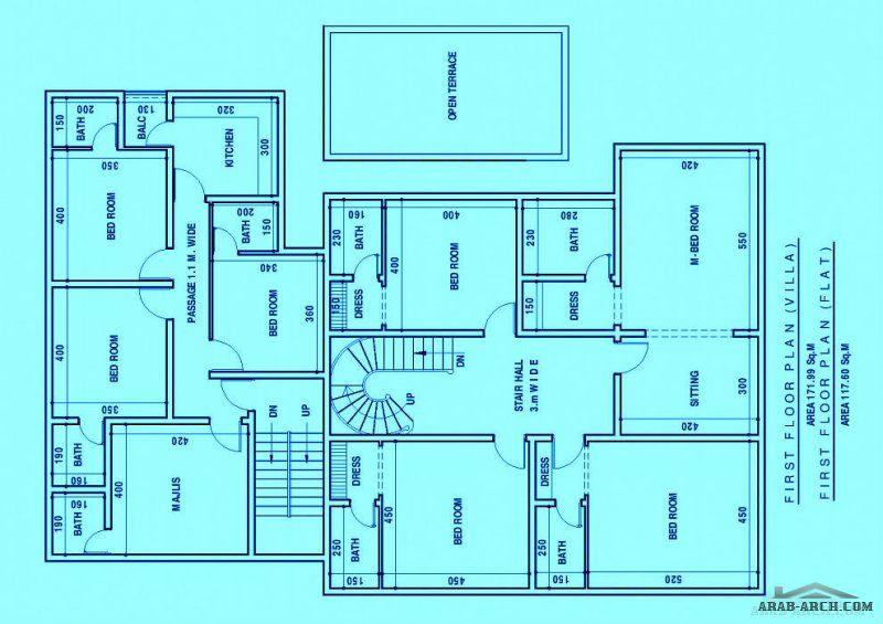 مخطط فيلا و شقق الارض كورنر بمساحة 600 متر Design House Design House Plans