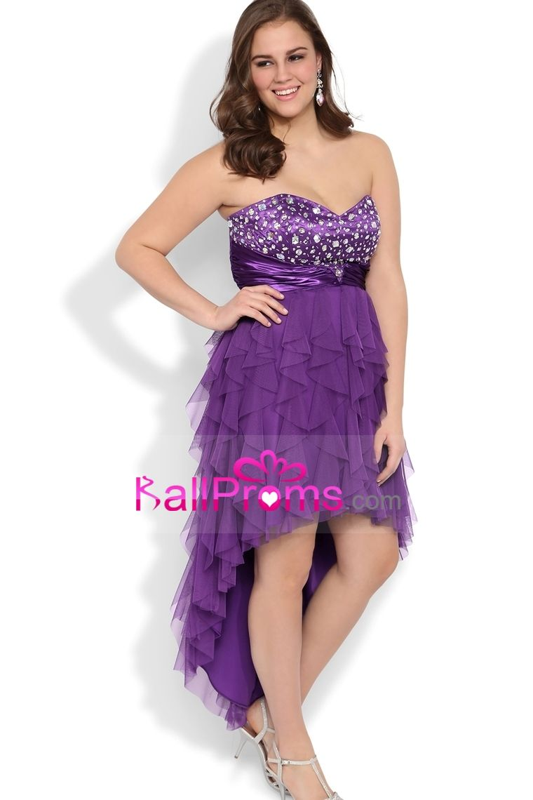 Plus size sweetheart high low prom dress with stone bodice tulle