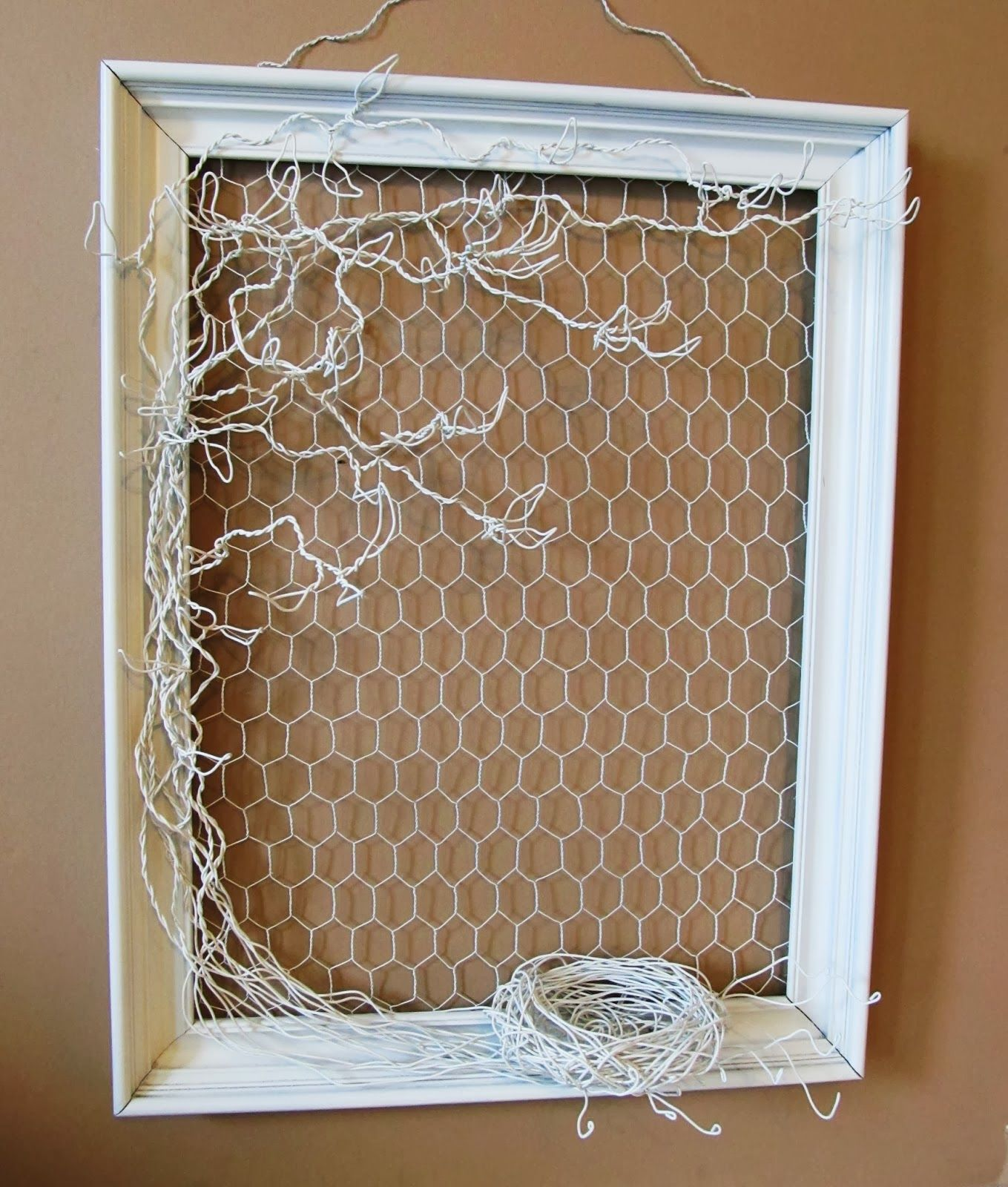 Wire jewelry tree in frame = chicken wire in frame with similar ...