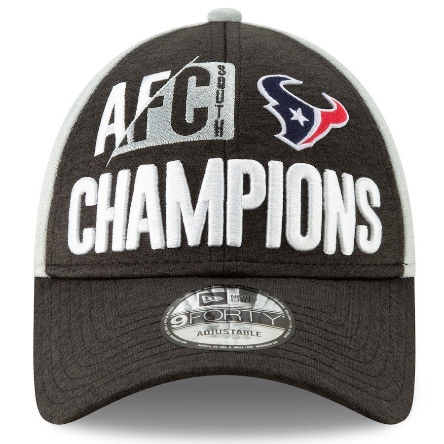sale retailer 6dd4d a45bd Men s Houston Texans New Era Heather Charcoal 2018 AFC South Division  Champions Locker Room 9FORTY Adjustable Hat
