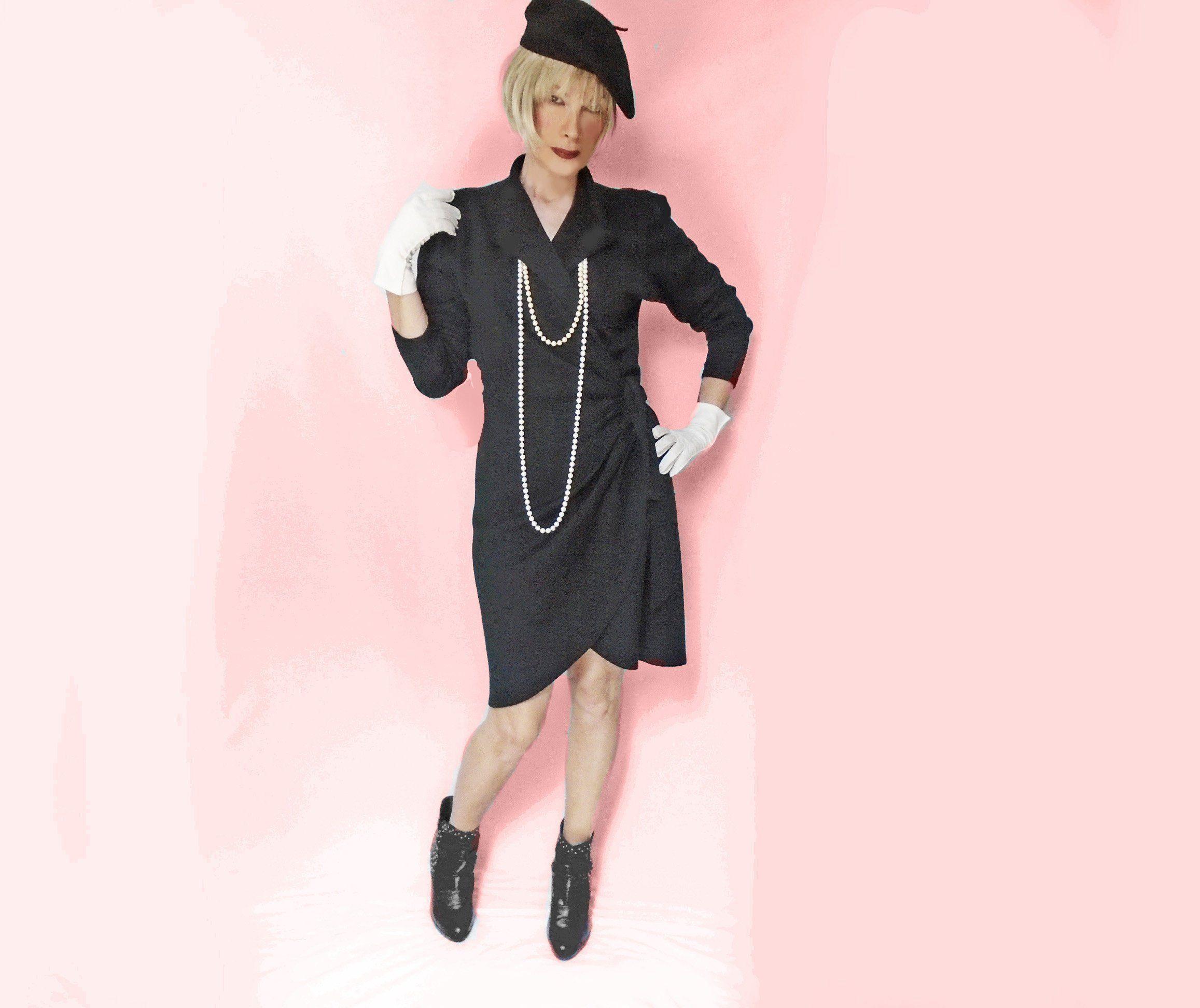 Vintage black wrap dress long sleeves s wool acrylic fall