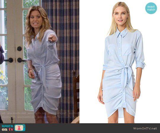 544d9bd613 DJ s blue ruched shirtdress on Fuller House. Outfit Details  https    wornontv
