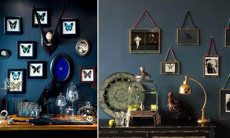 pour une coin chez vous cabinet de curiosit vous pouvez peindre un mur de couleur fonc e. Black Bedroom Furniture Sets. Home Design Ideas
