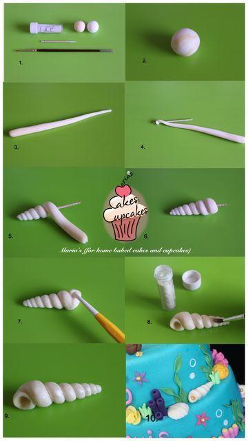 how to seashell tuto p te sucre pinterest fimo deco gateau et decoration gateau. Black Bedroom Furniture Sets. Home Design Ideas