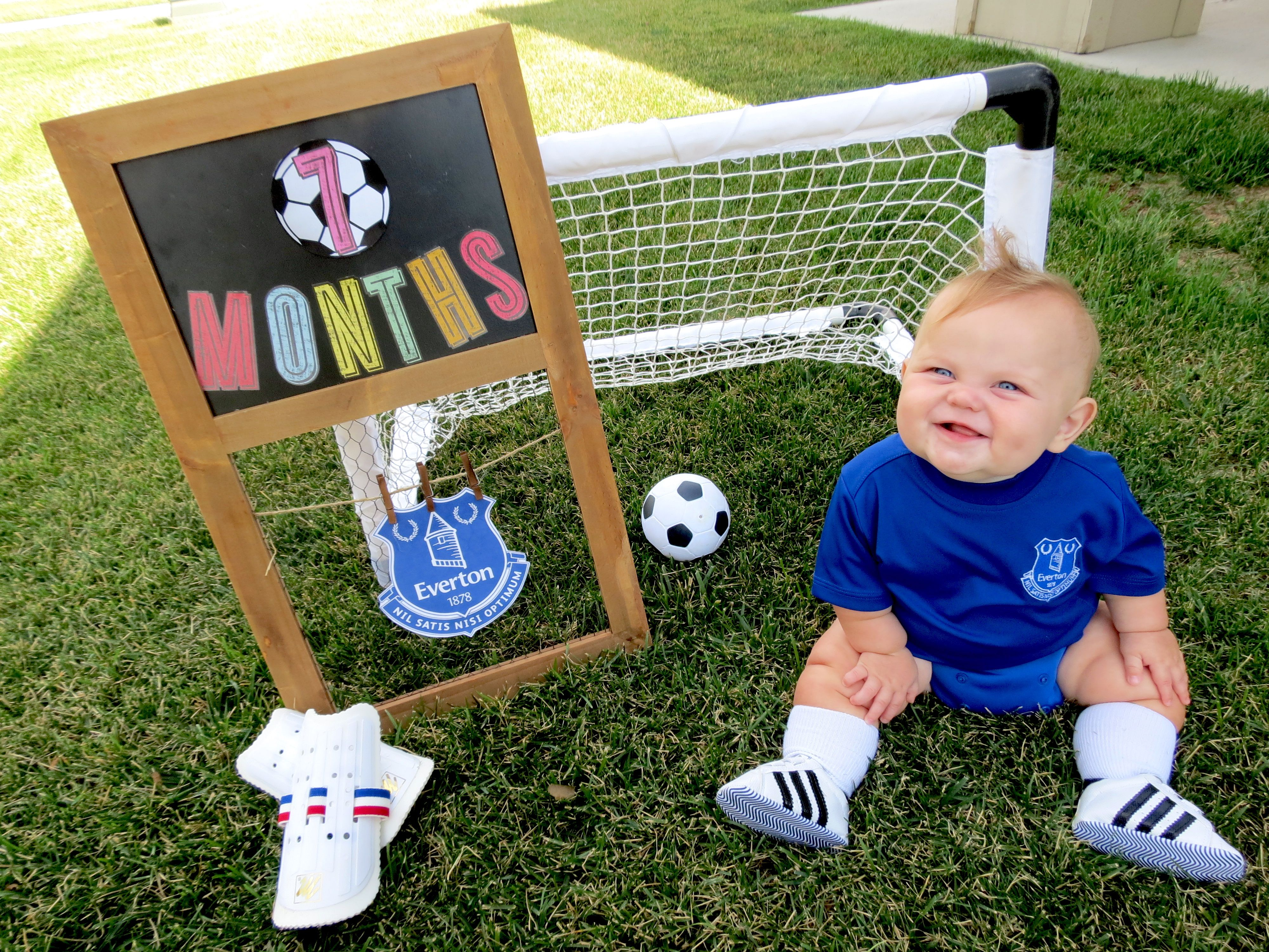 Everton Soccer Monthly Baby Photo Theme And Costume In 2020 Baby Milestone Photos Monthly Baby Photos Baby Photos