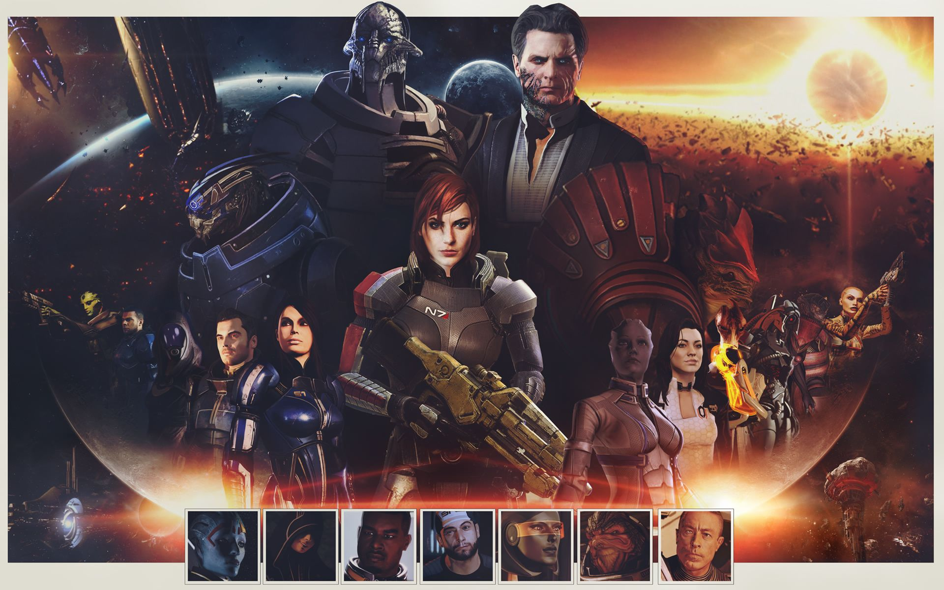 Download Wallpaper Femshep Zaeed Massani Edi Javik Saren