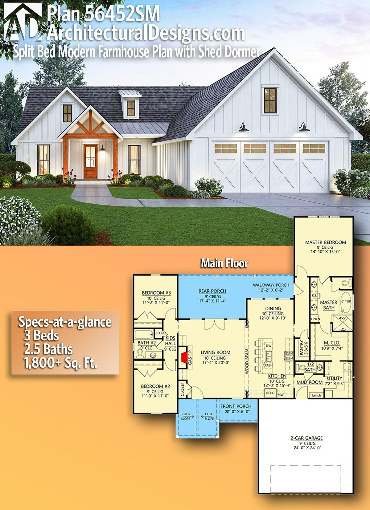 Plan 56452SM: Split Bed Modern Farmhouse Plan with Shed Dormer