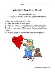 Valentines Day Heart Graph Worksheet  Graphing worksheets Bar