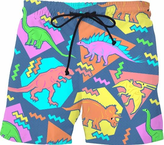 32412e5e85247 Swim Trunks Dino | 80s Cruise | Pattern art, Dinosaur pattern, Art