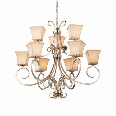 Justice Design Group Textile 9 Light Shaded Chandelier Finish: Antique Brass, Shade Color: Cream