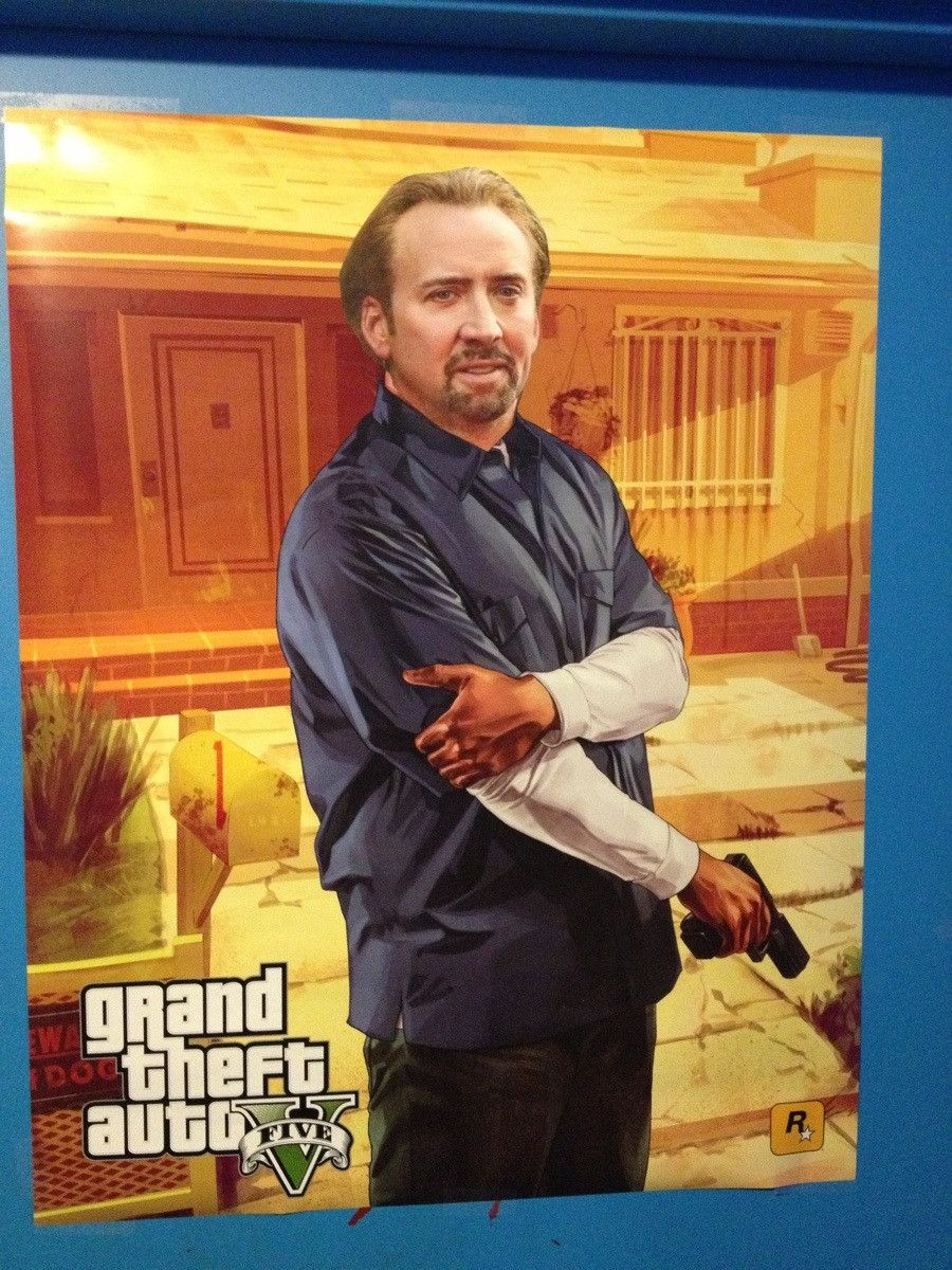 A game store near me puts Nicolas Cage faces on many